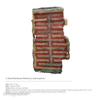 Early Tibetan polychrome monastery strip fragment.