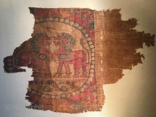 Rare samite silk roundel fragment.  32 cms x 45 cms