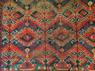 Early Ersari Beshir small main carpet. 130 cm x 206 cm. Very worn and beautiful.