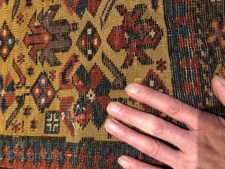 "Nice old Caucasian rug missing outer border. Some obvious reweaves, the rest is honest fine weave with great colors and wool. 3'1"" x 4'9"""