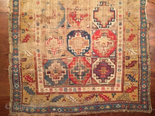 Early Caucasian rug :)A small fine crisp rug worn and as thin as paper it also has brindled (camel?) warps.
