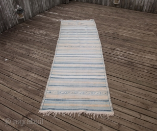 South Persian Cotton Indigo Kilim