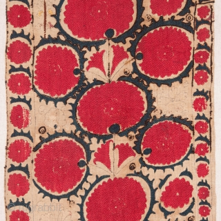 Suzani Fragment from Tashkent Uzbekistan ( Professionally backed on linen and ready to go on a stretcher ) 19th C. 36 x 189 cm / 14.17 x 74.41 inches