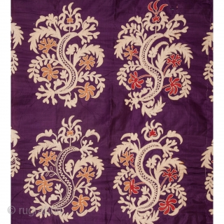 Early 20th c. Suzani from Uzbekistan Central Asia. It is pure silk lined with a Russian roller printed Cotton  162 x 248 cm / 5'3'' x 8'1''