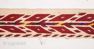 Turkmen Tekke White Chyrpy Collar 9 x 144 cm / 3.54 x 56.69 inches