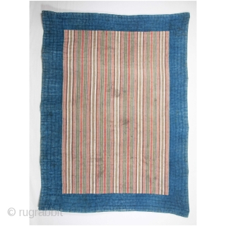 Mazandaran Indigo Quilt with a jajim front 177 x 242 cm / 5'9'' x 7'11''