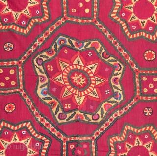 Large Densley Embroidered Pishkent Suzani from Uzbekistan Central Asia 215 x 257 cm / 7'0'' x 8'5''