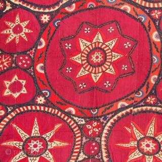 Large Densley Embroidered Pishkent Suzani fromUzbekistan Central Asia 207 x 256 cm / 6'9'' x 8'4''
