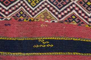 """Magnificent antique Kordi kilim. Wonderful natural dyes and tribal designs with randomly placed """"S"""" design. This is a khorjin that has been opened up and can also be used as a very  ..."""