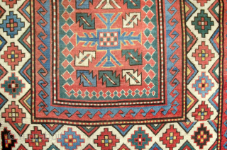 Attractive 19th Century Antique Kazak Rug with a harmomious easy to the eye colour combination. Some expert restorations done as shown in images. 190x150cm
