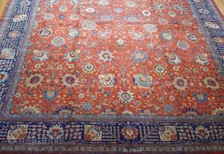 "Antique Persian Tabriz 12'5"" x 18'5"" / 380 x 560 (cm), circa 1900-1920's, has a signature, perfect original condition."