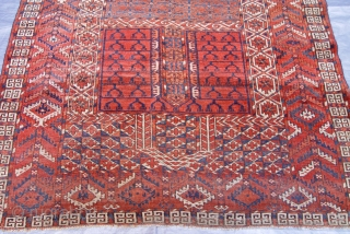 "Antique Turkmen Ensi circa 1860's , size: 4'1 x 5'5""ft. 125 x 165 cm."