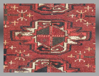 """Yomud Turkmen Chuval, Central Asia, 19th century, 3' 6"""" x 2' 4""""  If not for the structure of this chuval, it would be difficult to really say it is Yomud.  The palette  ..."""