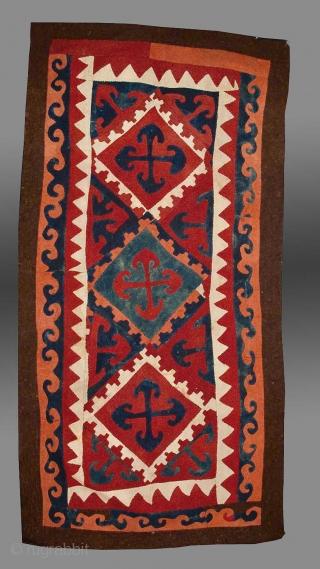 "Kyrgyz or Uzbek Felt, Central Asia, 19th C., 5'8"" x 11'3""     Please inquire for further information/details"