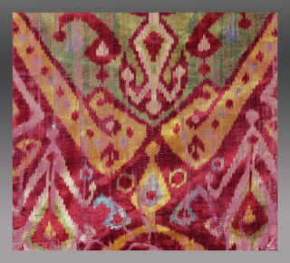 Silk Velvet Ikat Panel, Central Asia, 19th C., 1' x 2' (30cm x 60cm)