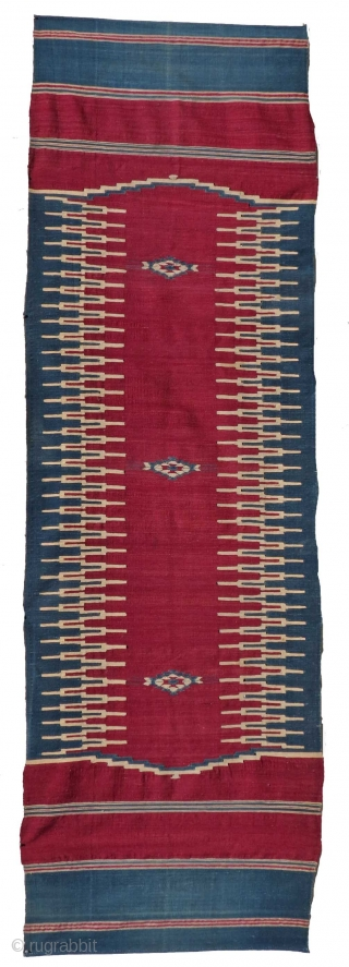 "Middle Eastern Flat Woven Runner - 2'10"" x 9'3"" - Good Condition"
