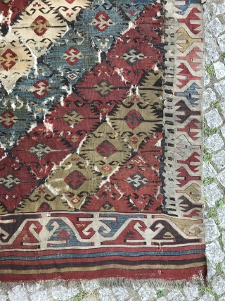 central anatolian kilim, fragmented but kind of complete, some old restoration and dirty, think first half 19th century,