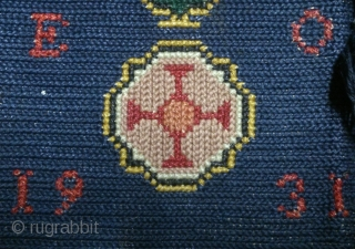 Antique Swedish cross stitch, no: 338, size: 93*59cm, wool on linen, dated and signed.