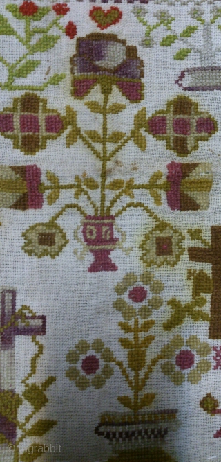 Antique Swedish cross stitch sampler, no: 243, size: 30*35cm, wool on linen, dated 1888.