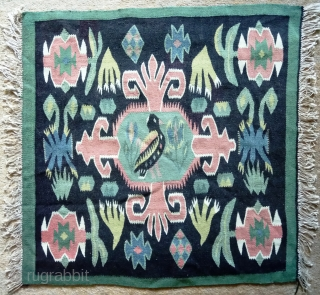 Antique Swedish kilim, no: 350, size: 59*59cm, pictorial design, wall hangings.