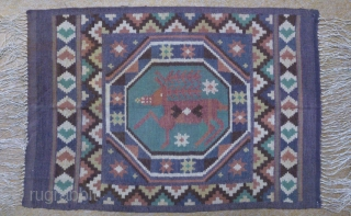 Antique Swedish kilim(Rolakan technique), no: 345, size: 82*58cm, pictorial design, wall hangings.