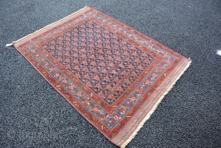 Afshar circa 1890, unusual patterns, low pile, size is 177 x 130 cm