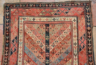 Caucasian Gandje Runner circa 1880, small flowers and chicks border. Good condition, more beautiful then pictures. size is 336 x 114 cm
