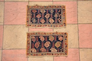 Rare pair of Afshar bag, end 19th century, all vegetable dyes, sizes are 71 x 42 cm & 73 x 42 cm
