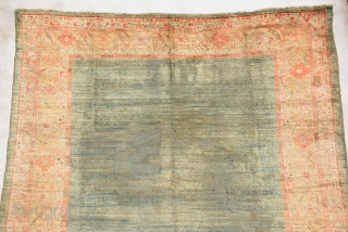 Angora Ushak, for me it's end 19th century and it has low pile in mid and 3 repile places which are not good enough. It's size is 324 x 290 cm.