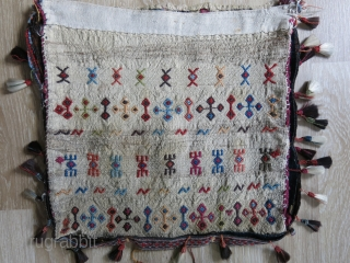 "Central Anatolian Konya - Turkmen travel shoulder bag with original baby goat hair tassels and backing. Circa 19th cent. size : 15"" X 15"" - 39 cm X 39 cm"