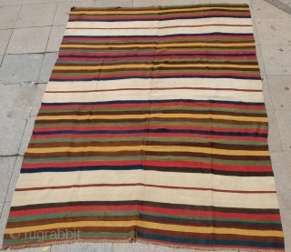 Shahsavan double wings fragmand kilim cut adges. Size 8'3x5'1 ft