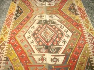 very old anatolian Kilim. Size: 144 x 355 cm.