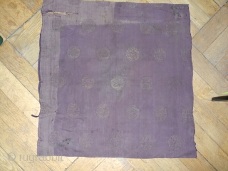Thousand yrs. old Chinese ceremonial textile. 58x55 cm. Attributed to the first Jin dyn. c. 1100. Linen, with symbolic circles imprinted. Extremely difficult to photograph, moreover no camera can catch the radiation  ...