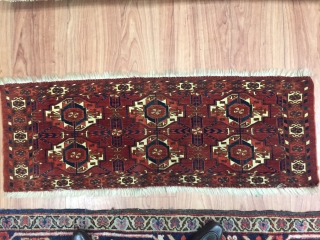 A exquisite Torba conceived by womens of the Tekke Turkoman,Who produced the finest and most imaginative rugs of the west Turkestan knotting area. Sold.