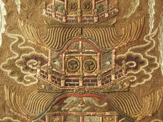 Japanese Meiji Tokugawa Rope Embroidery on Silk of Two Phoenixes