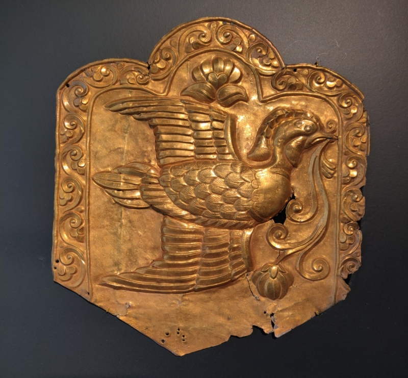 silver-gilt repousse plaque depicting a mandarin duck in flight, Central Asia, 7th-9th cen. Francesca Galloway